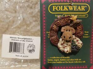 Boyds Bears Folkwear Pin, *Hirum Mooselplanter*, #26334 Moose, New w/ Cardboard