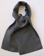 """Dark navy blue & white Silk cravat 39"""" X 6"""" Hand made"""