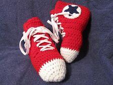 Crochet High Top Sneaker Slippers/Socks in Teen/Women/Men Red w/Blue - Handmade