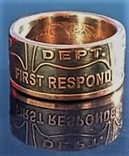 Fire Dept, Fire and rescue first responder .999 Copper Coin Ring Size 10-16