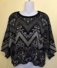 FREE PEOPLE Oversized Boxy Sweater Size S Kimono Sleeves Black Gray Southwestern