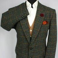 Harris Tweed Jacket Blazer Windowpane Wedding 44R AMAZING COLOURS 2529