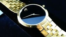 Mens Gold Toned Movado blk Museum dial #88.45.1891 w/ Sapphire crystal runs gr8