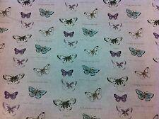 Fryett's vintage papillons ~, lin look épais rideau de tissu de coton / rembourrage