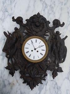 Pendule horloge decor gibier chasse pêche d'époque 19ème wall clock