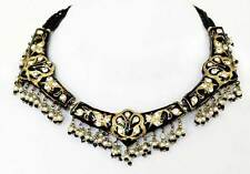 Black & Gold Peacock Lakh Necklace. Jewelry in the Style of Mughal India