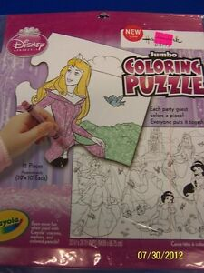 Disney Princess Dreams Fairy-Tale Kids Birthday Party Game Jumbo Coloring Puzzle