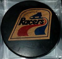 WHA INDIANAPOLIS RACERS VINTAGE OFFICIAL HOCKEY PUCK MADE IN CZECHOSLOVAKIA RARE