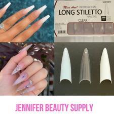 MISS ANA LONG STILETTO CLEAR 500 PC ARTIFICIAL FAKE NAIL TIP 10 SIZES LIKE BEYOU