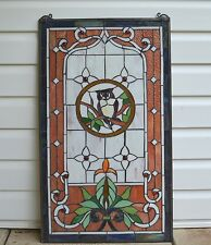 "Owl Large Handcrafted stained glass window panel,  20"" x 34"""