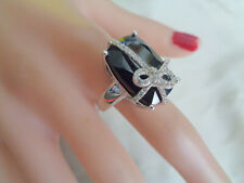 STERLING RING  SIGNED PBJ BEAUTIFUL BLACK ONYX  WHITE ZIRCON  BOW PACKAGE  STYLE