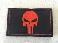 New Punisher patch Army Black and Red tactical Morale Hook Loop Patch 8x5cm