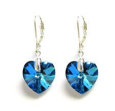 Swarovski Elements Crystal Love Heart Sterling Silver Leverback Dangle Earrings