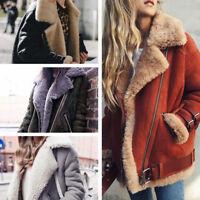 Womens Winter Coat Loose Jackets Lapel Suede Lamb Lining Warm Outwear Tops N2009