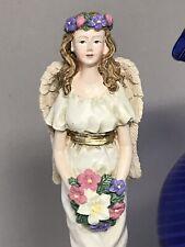"Ceramic Candlestick Candle Holder ANGEL w/Bouquet  9"" By CBK Ltd"