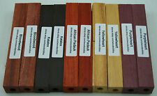 Pre-Drilled 7mm Exotic Wood Pen Blanks Purpleheart, Bloodwood, Katalox PD-1