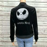 Disney Nightmare Before Christmas Black Velour Jacket SMALL Pumpkin King Jack