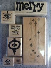 """MERRY, MERRY"" Stampin'UP! used~wood mount-Christmas Ornaments~snowflakes~RARE"