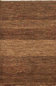 Contemporary Gabbeh Kashkoli Handmade Oriental Area Rug Brown Wool Carpet 3x4
