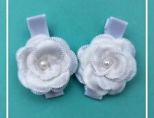 White Satin Flower  - Baby/Toddler/Girl Hair Clips