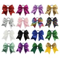 """16 Color 8"""" Large Cheer Bow Cheerleading Girls Bow Hair Tie Elastic Hair Bands"""