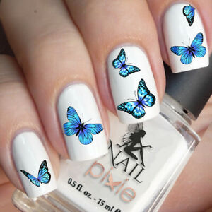 BEWITCHING Blue BUTTERFLY Nail Decal Art Water Slider Sticker Transfer