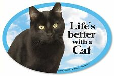 """Life&#0 00004000 39;s better with a Cat (Black) 6"""" x 4"""" Oval Magnet Made in the Usa"""