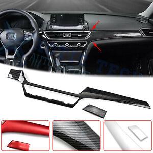 For Honda Accord 2018-2020 Console Dashboard Strip Trim Carbon Fiber Red Silver