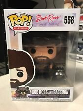 FUNKO POP BOB ROSS WITH RACCOON #558 JOY OF PAINTING IN HAND w/ PROTECTOR