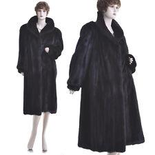 Mint! L-XL! Magnificent High Grade Black Mahogany Female Mink Fur A-Line Coat