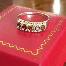 Ladies Heavy 375 9ct Gold ~ Garnet 1/2 Eternity Ring ~ Size Q 2.2g ~ London 1959