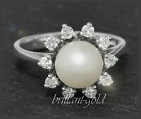 Diamant und Perlen Ring aus 585 Gold, 0,35ct Brillanten, Weißgold Cocktailring