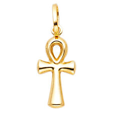 Free Chain Real 14k Yellow Gold Religious Ank Ankh Cross Jesus Pendant Charm