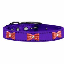 Mirage Pet Products Red Glitter Bow Widget Genuine Metallic Leather Dog Colla...