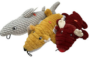 Patchwork Ripple Large Super Soft Dog Toys, Dolphin, Fox & Deer