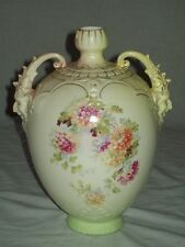 hand painted porcelain/pottery amphora vase with face handle WR