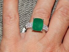 VERDE ONYX & NATURAL CAMBODIAN ZIRCON RING-SIZE T-5.00 CARATS-WITH PLATINUM
