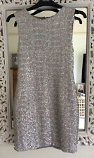Topshop Silver Holographic Sequin Mini Dress, UK Size 10, Immaculate