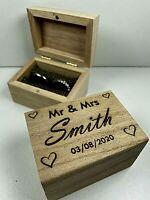 Laser Engraved Personalised Wedding Ring Box, Custom Ring Box, Proposal Box Gift