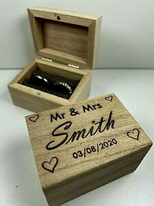 Laser Engraved Personalised Wedding Ring Box, Custom Ring Box, Proposal Box Gift