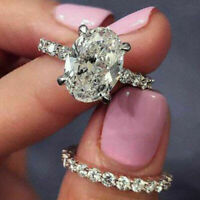 14K White Gold Over 3.00 Ct Diamond Oval Cut Engagement Wedding Ring Bridal Set