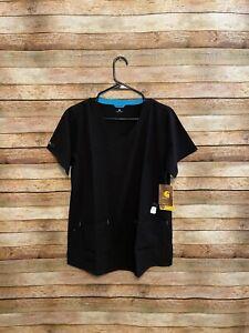 Carhartt Womens Cross Flex Y Neck Scrub Top Black Medium NWT New C12210 Uniform