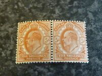 CAPE OF GOOD HOPE POSTAGE STAMPS SG78 5/- PAIR BROWN ORANGE LIGHTLY-MOUNTED MINT