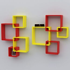 Unique Decorative Set Of 6 Intersecting''Yell&Red ''Wall Mount Shelf, Home Decor
