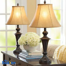 Traditional Table Lamp Set 2 Vintage Desk Lamps Pair Shades Nightstand Light