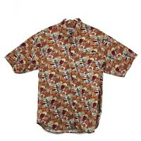 Vintage Hawaiian Shirt Mens XL Button Front Short Sleeve Straight Down