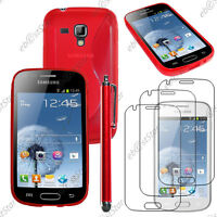 Housse Etui Coque Silicone Rouge Samsung Galaxy Trend S7560 + Stylet + 3 Films