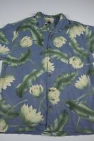 Tommy Bahama Mens 100% Silk Floral Button Down Shirt Size M Short Sleeve Camp