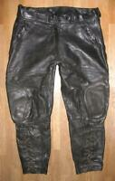 Hein Gericke Men's Leather Trousers/Biker Lederbreeches With Red Zipp Size 52