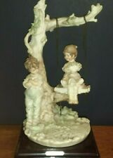 Vintage B. Merli Capodimonte Figurine Boy Girl On Tree Swing